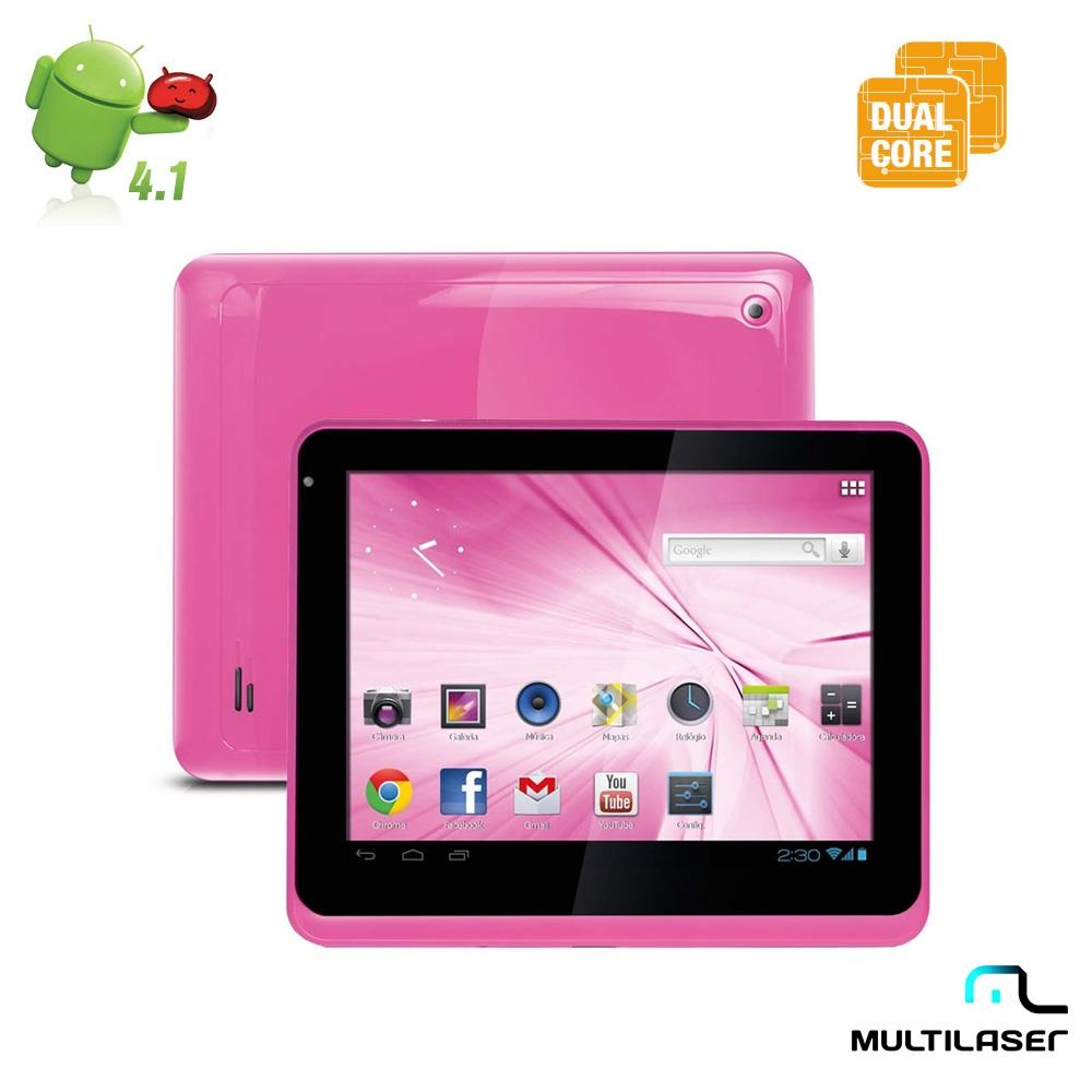 TABLET MULTILASER M8 NB062 PINK ANDROID 4 1 PROCESSADOR DUALCORE 1 6GHZ CAMERA PRINCIPAL 2 0MP FRONTAL 0 3MP WI FI